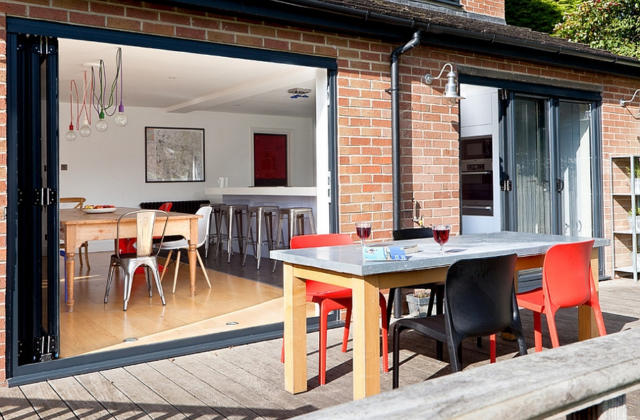 Informal outdoor dining is an extension of the interior