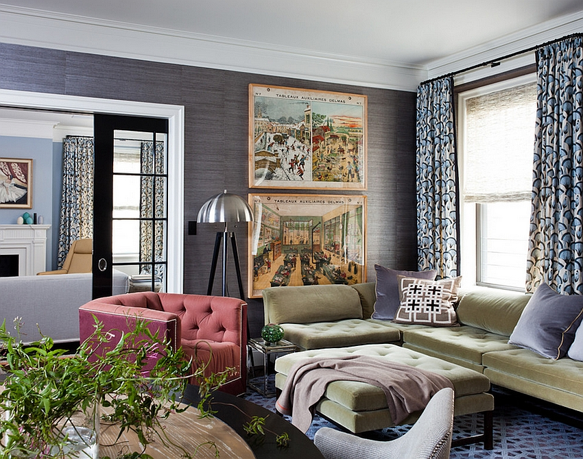 20 living rooms with the textural beauty of grasscloth for Paintable grasscloth wallpaper