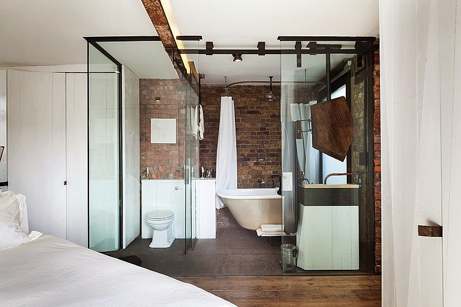 Innovative bathroom with glass walls in small London apartment [Design: Michaelis Boyd Associates]