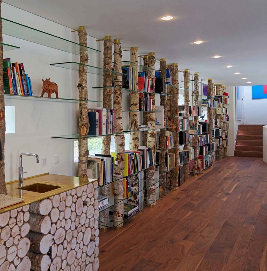 Innovative bookcase design using natural materials