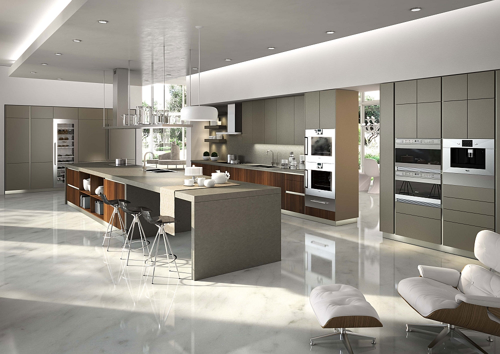 Innovative contemporary kitchen in light gray with wooden accents