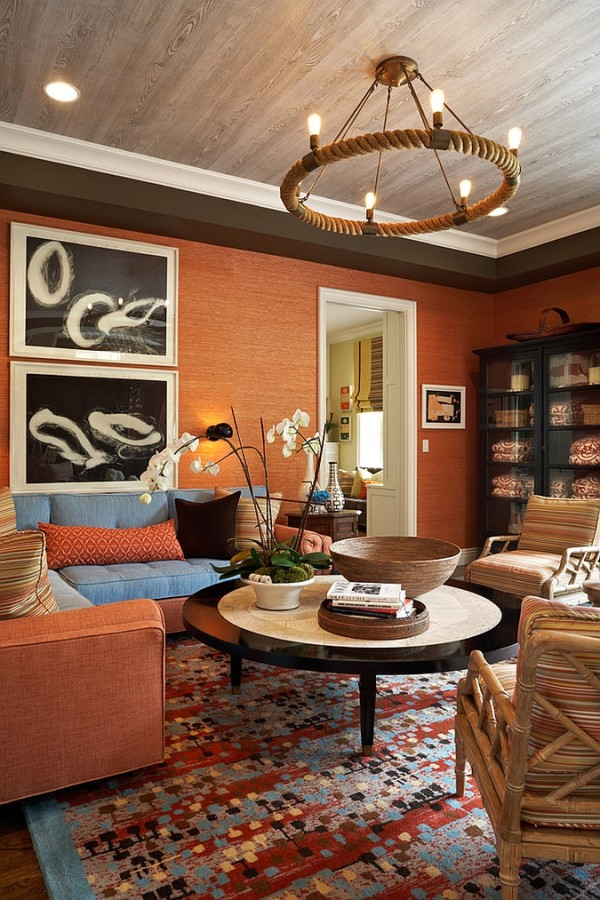 Innovative use of orange in the living room [Design: Willey Design]