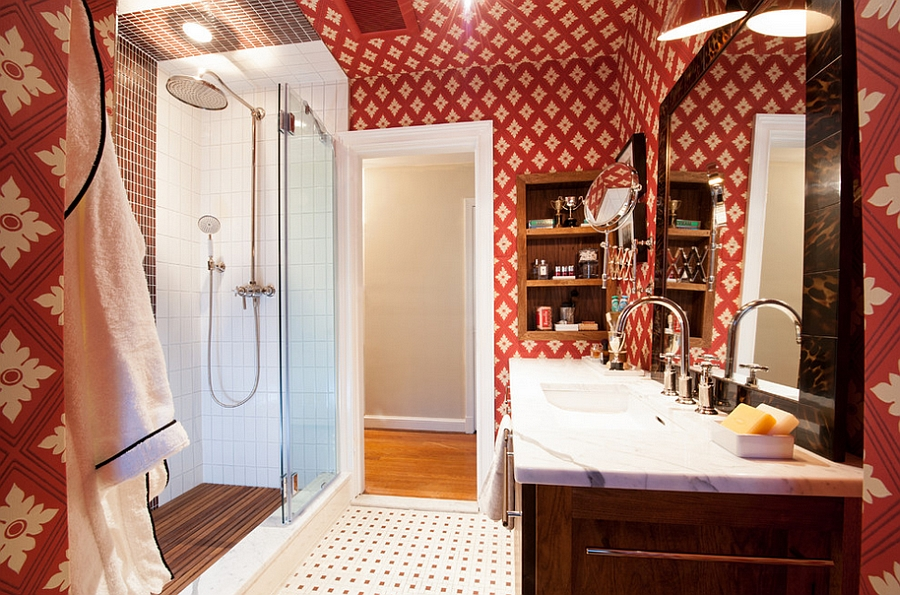 Innovative use of red wallpaper in the small bathroom [Design: Christopher Patrick Interiors]