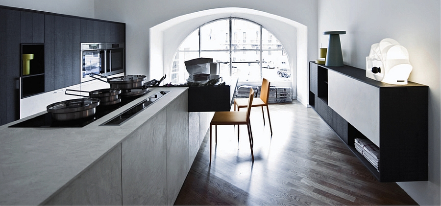 Interesting blend of textures and styles in the minimal, modern kitchen