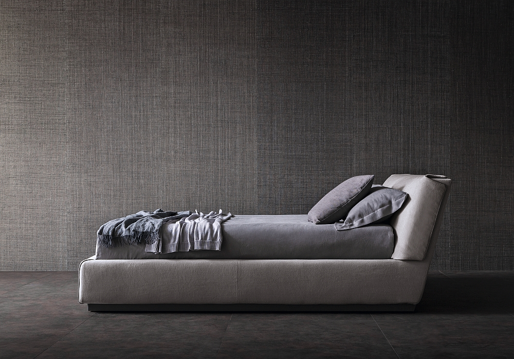 Invite home a trendy new bed in gray Elegant Bed, Sofa and Armchairs: Gentleman Collection by Flou