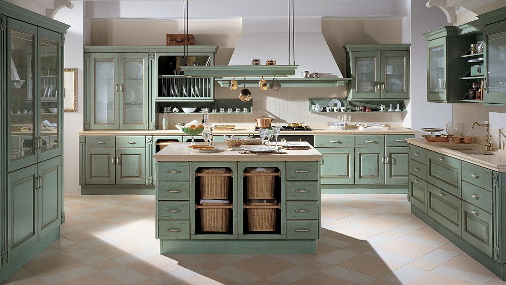 Island unit combines open and closed shelves 15 Sophisticated Kitchens with the Charm of a Bygone Era