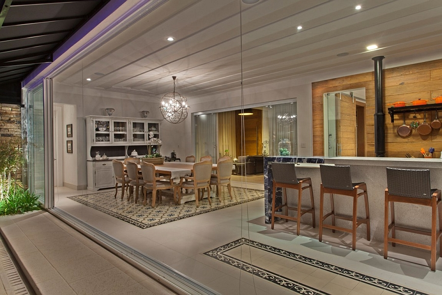 Kitchen and dining area blur the lines between interior and the outdoors