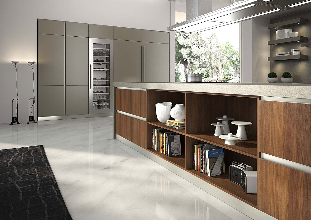 Kitchen island with ample storage and display space