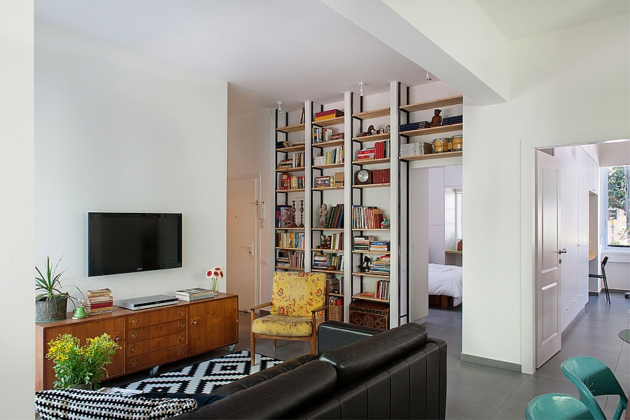 Large bookshelf in the living room becomes the focal point