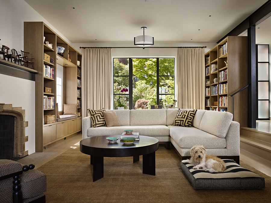 Traditional Living Rooms With A Modern Twist classic seattle lakefront house gets a bookish modern twist!