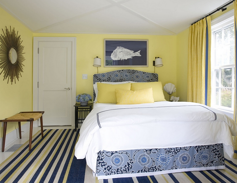 lemon yellow and beautiful blue in the stylish bedroom