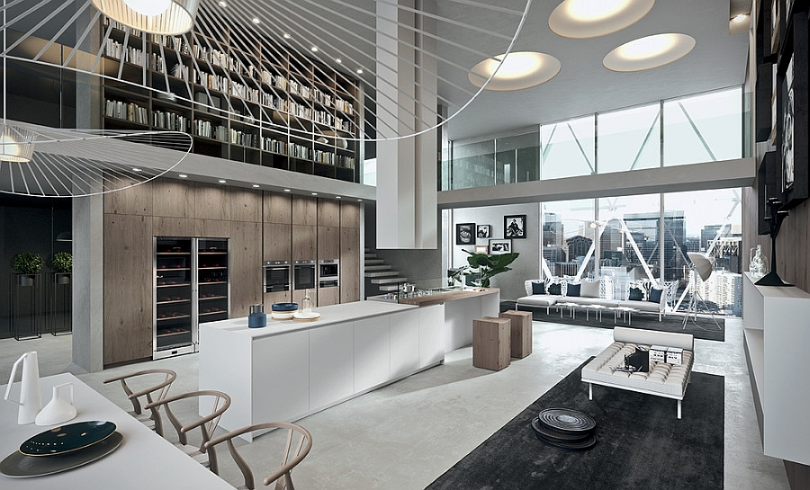 Let the contemporary kitchen blend in with the open floor living area
