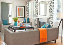 Living Room with Orange, Turquoise and Gray