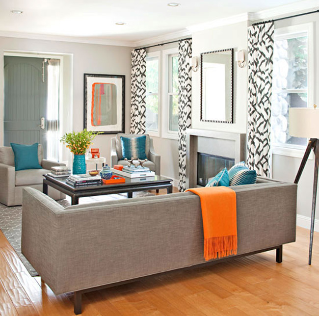 Living Room with Orange