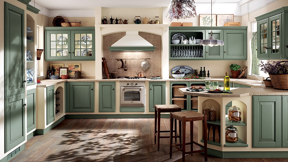Lovely use of antique green in the kitchen