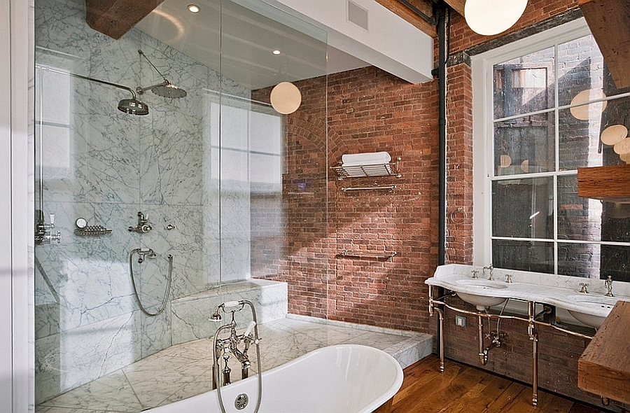 Lovely use of brick in the industrial bathroom [Design: Jane Kim Design]