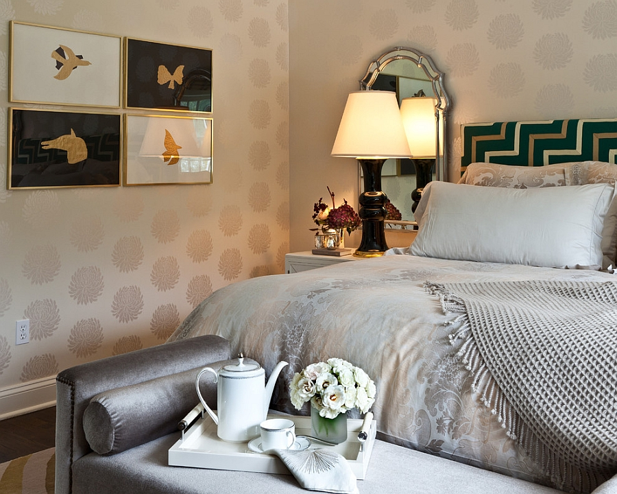 Lovely use of gold and black in the transitional bedroom