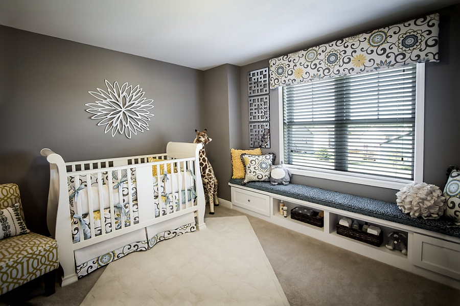 Lovely window seat addition in the modern nursery [Design: Veridian Homes]