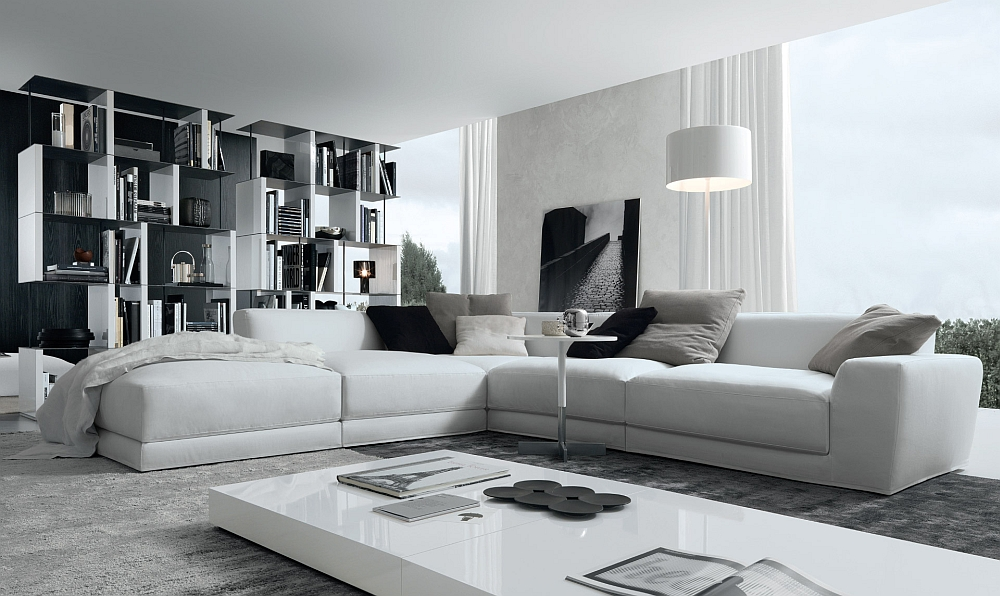 View In Gallery Luxurious Sectional In White With Italian Flair