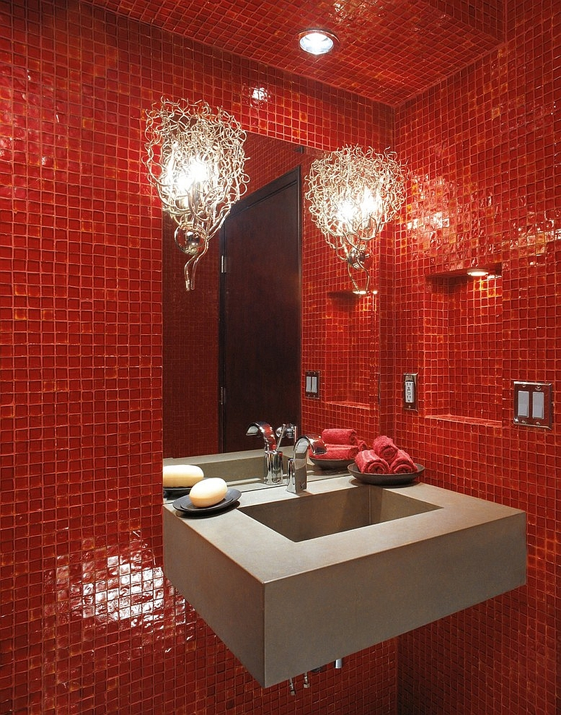 ... Luxury Glass Tile In Red Using Recycled Bottle Glass For The Modern  Bath [Design: