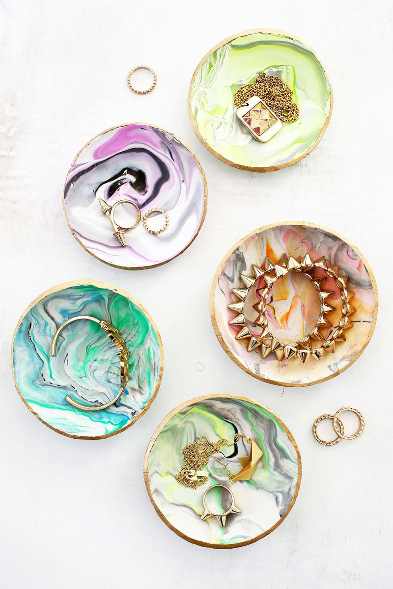 Marbled clay ring dishes from A Beautiful Mess