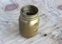 Mason Jar Spray Painted in Gold