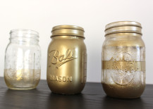 Mason Jars Spray Painted in Gold