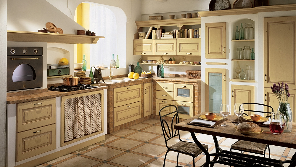 Masonry effect of the old country homes brought into the modern kitchen