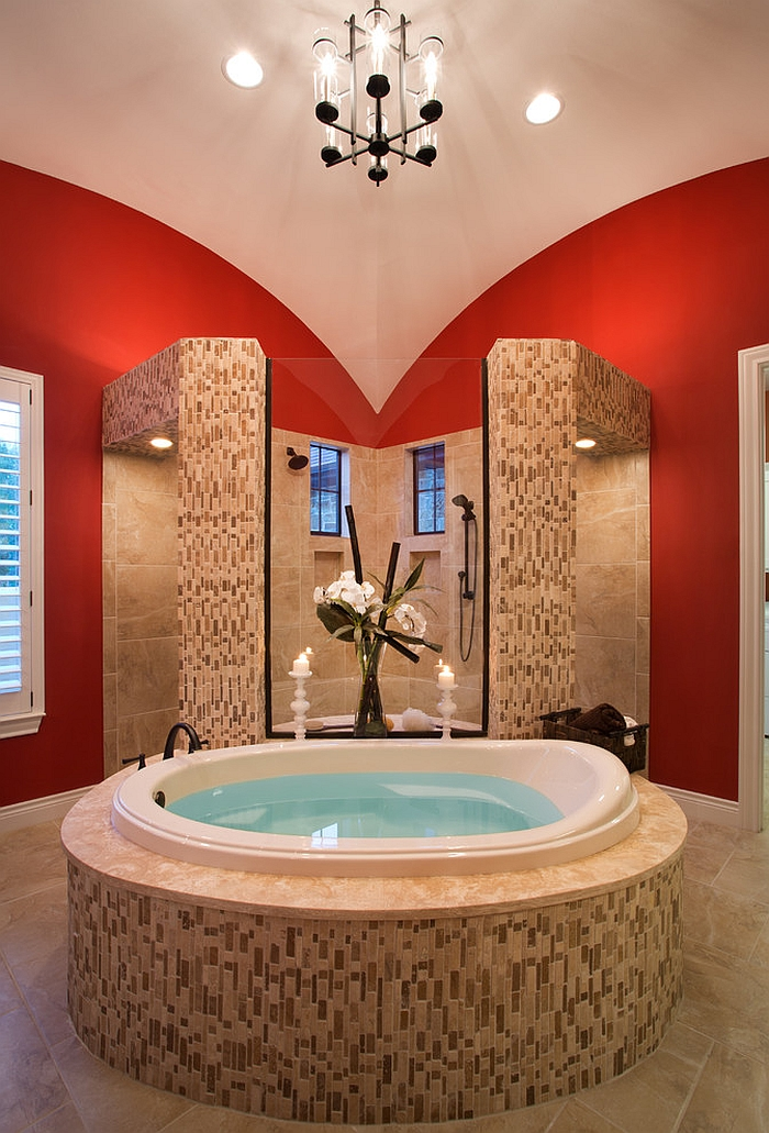 Master bath seems to be inspired by a butterfly [Design: Mary DeWalt Design Group]
