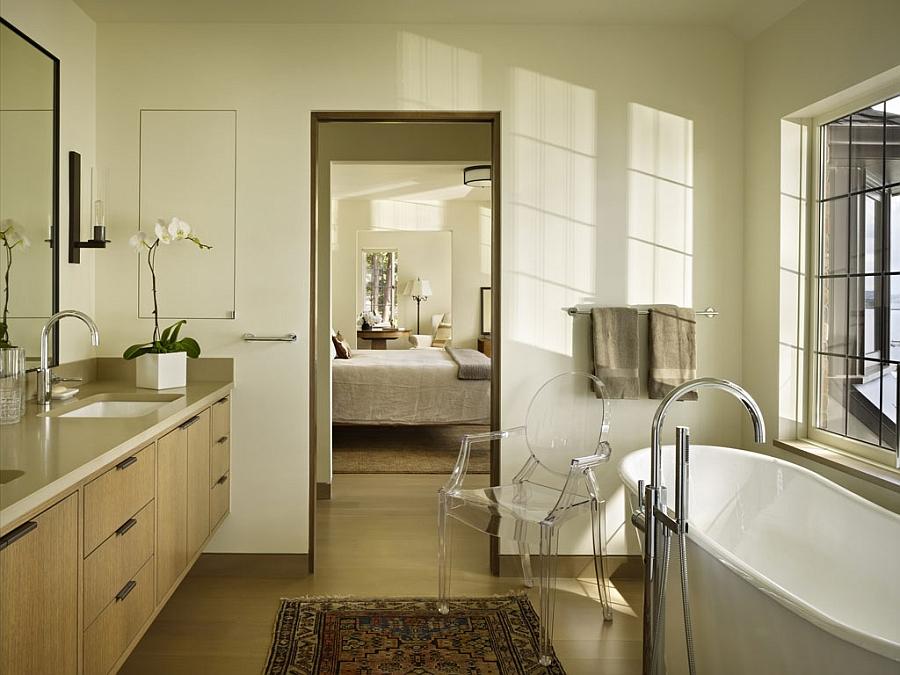 Master bathroom with views of lake Washington