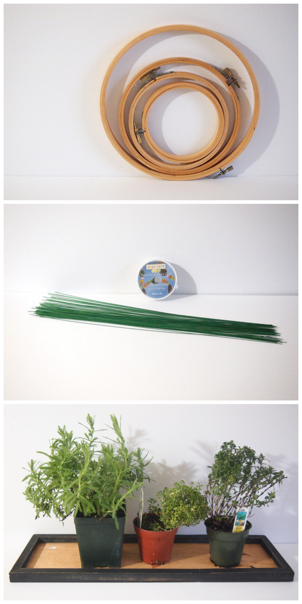 Materials for making a herb wreath DIY 3 in 1 Herb Wreath That Also Smells Great
