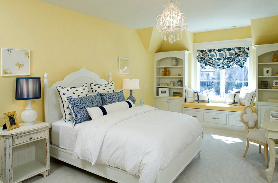 Mellow Yellow walls give the traditional bedroom a cozy appeal [Design: Stonewood LLC]