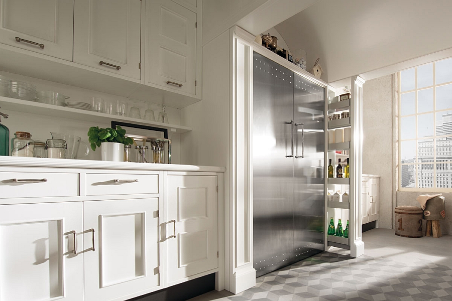 Metallic accents give the kitchen a modern appeal