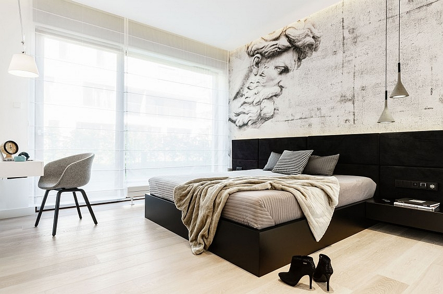 Minimal modern bedroom with a tinge of industrial flair
