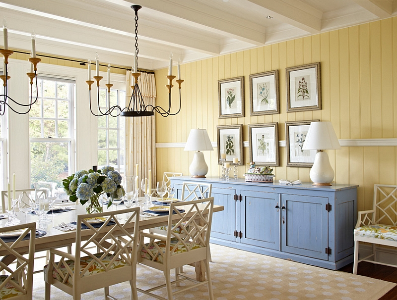 Yellow and blue interiors living rooms bedrooms kitchens for What kind of paint to use on kitchen cabinets for sun wall art decor