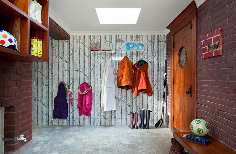 Modern entryway design idea with wallpaper Iconic Wallpapers That Bring in Style and Pattern