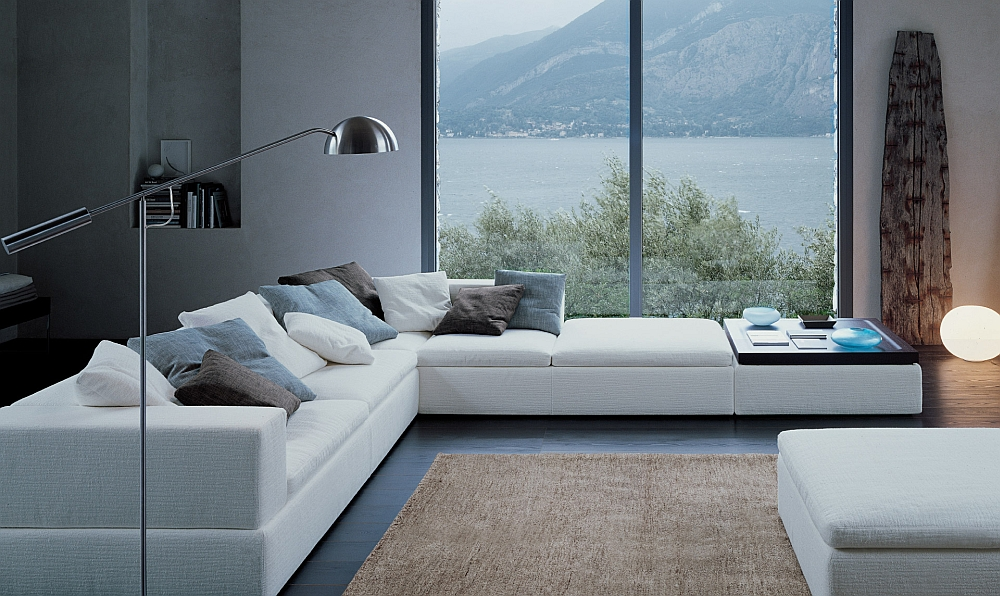 Modern sectional with a stylish end table