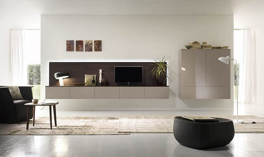 Modular wall units help shape the ideal living room wall systems