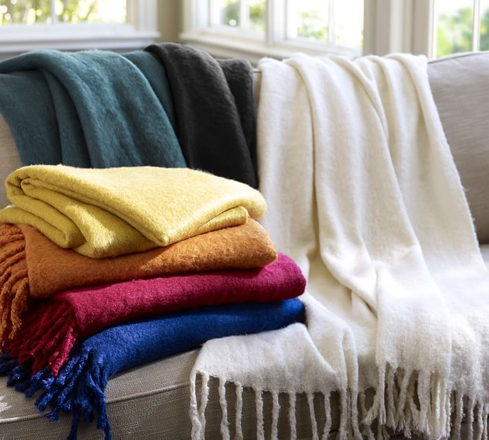 Mohair throws from Pottery Barn