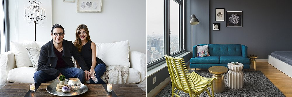 NYC studio apartment makeover Twin Visions: Dashing NYC Studio Apartment Gets Two Glamorous Makeovers!