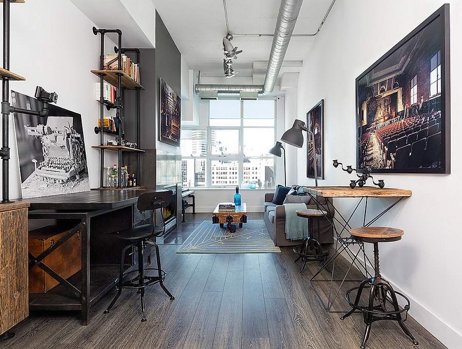 27 ingenious industrial home offices with modern flair for Long narrow office layout
