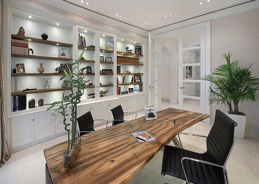 Home Office Design Ideas new ideas cool office decorations clean calm and stylish this home office smartly uses wallpaper View In Gallery Natural Greenery Helps In Shaping A Harmonious Home Office Design Michelangelo Custom Homes