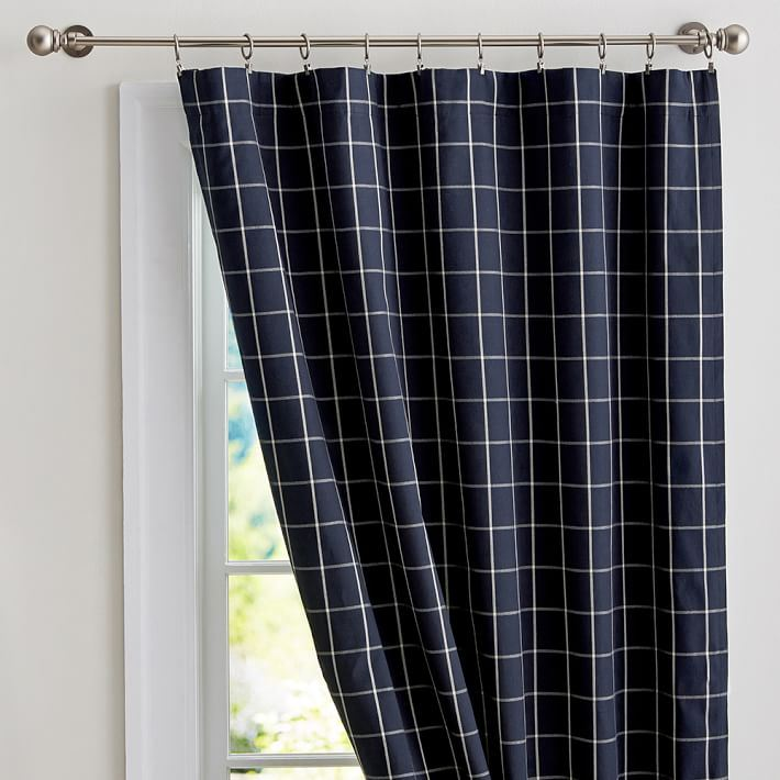 Navy grid drapes