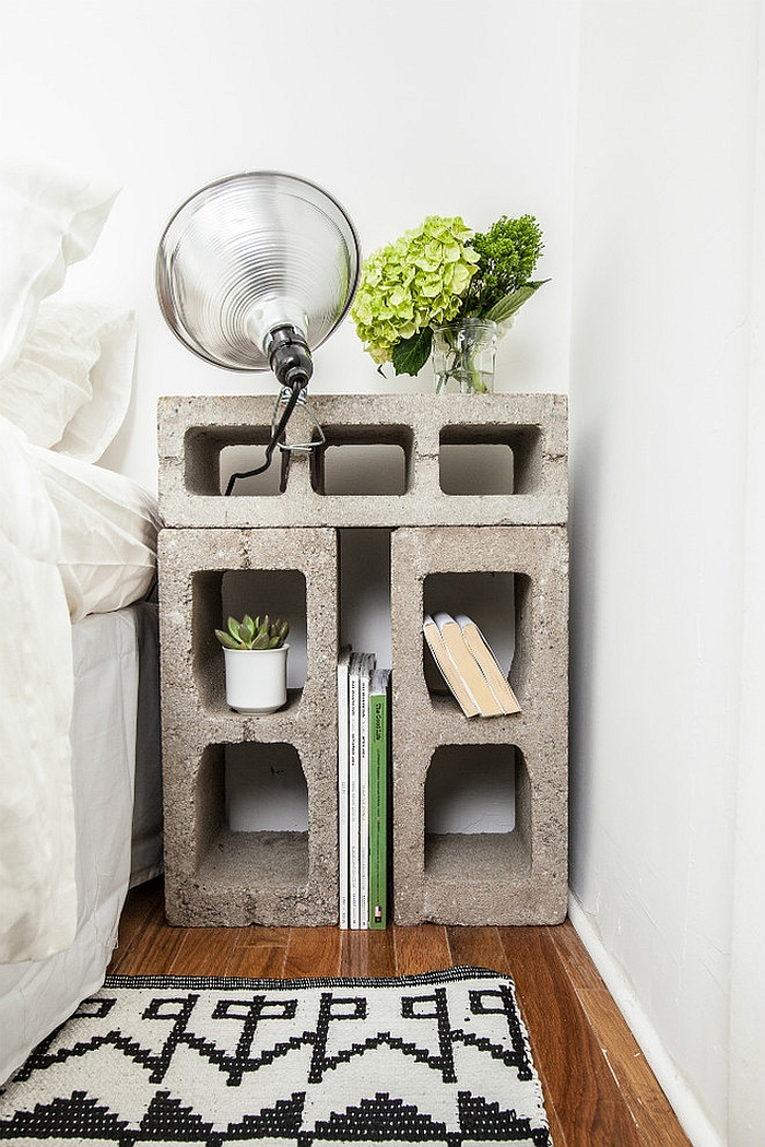 Nightstand made out of cinder blocks
