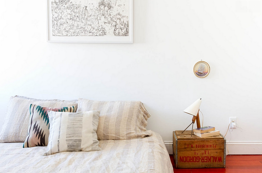 Old crate transformed into a simple, practical nightstand [Photography: Rikki Snyder]