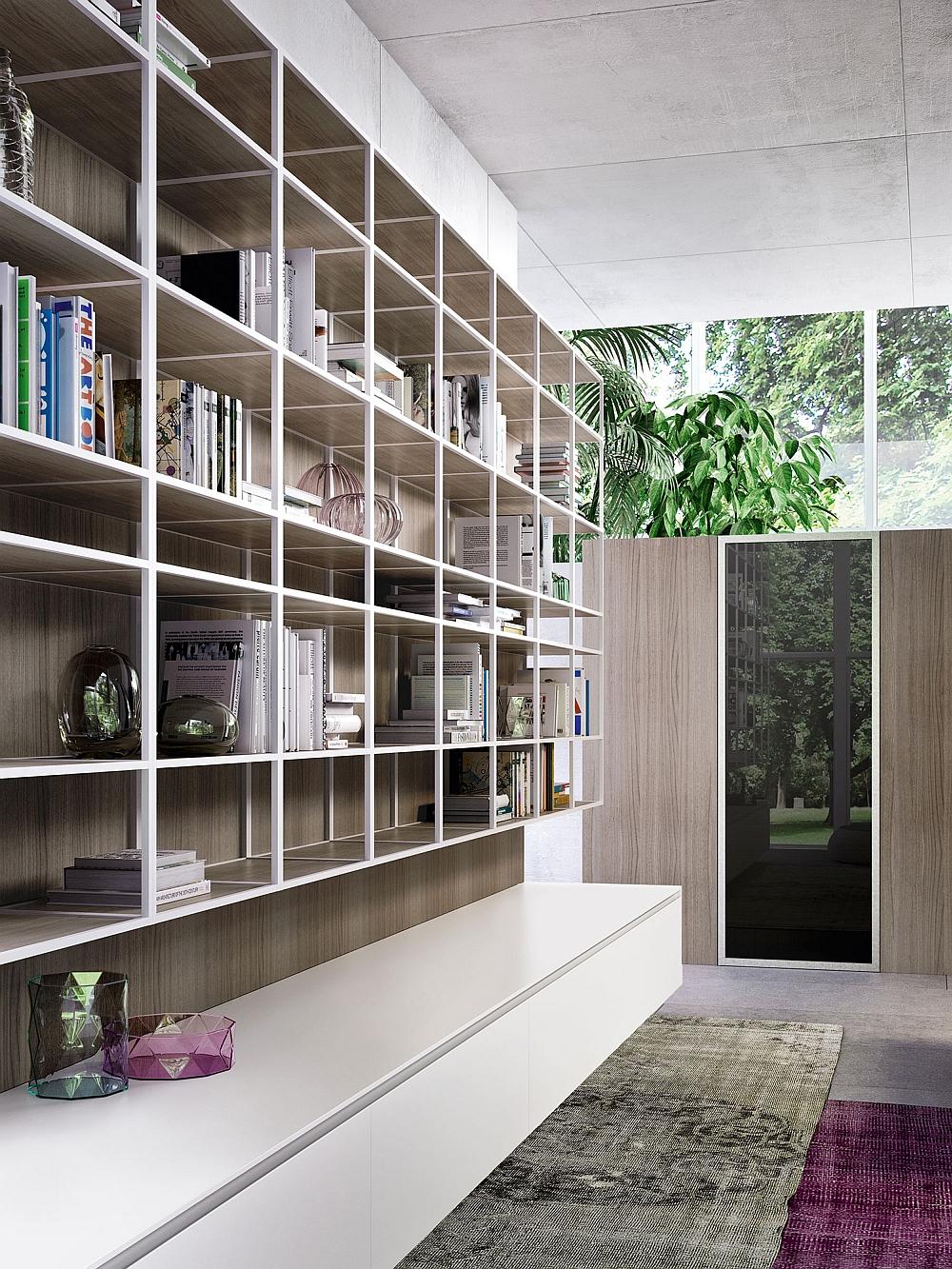 Open aluminum shelves that double as wonderful display units