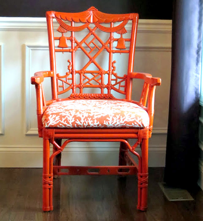 Orange Chinoiserie Chair
