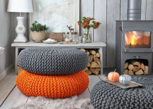 Orange Paired with Grey Pou 217x155 9 Techniques for Invigorating Your Home with a Pop of Orange