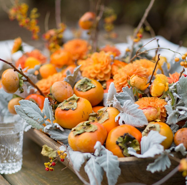 Orange Persimmon and Flower