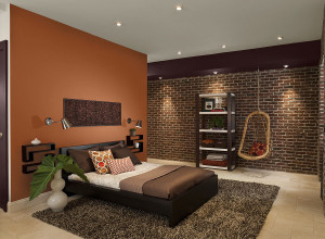 Orange and Brown Bedroom